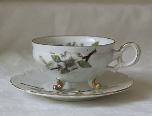Dogwood-Cup-and-Saucer-White-amp-Florals-United-China-and-Glass-Co-Made-in-Japan
