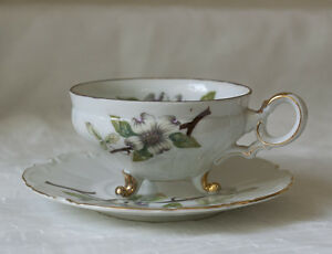 Dogwood Cup and Saucer White & Florals United China and Glass Co. Made in Japan