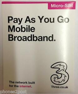 THREE-3-Micro-Sim-Card-Pay-As-You-Go-Mobile-Broadband-Data-Internet-BRAND-NEW
