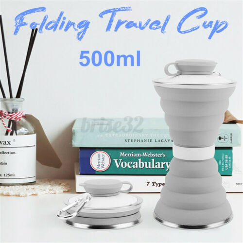 500ml Folding Water Bottle Portable Mug Collapsible Silicone Cup Sports Travel