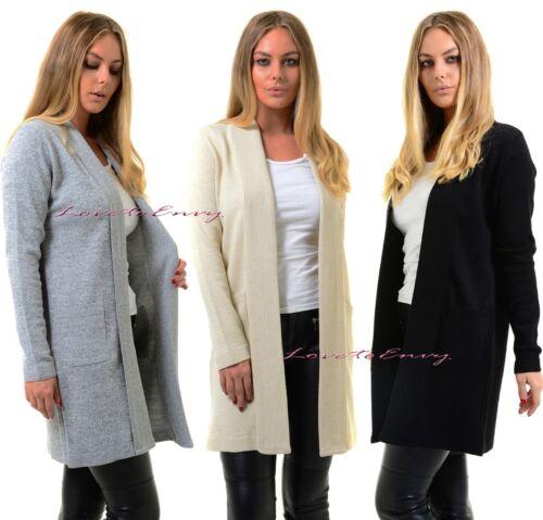Ladies NEW Open Front Cardigan Casual Long Sleeve Smart Jacket Sweater Coat Top.