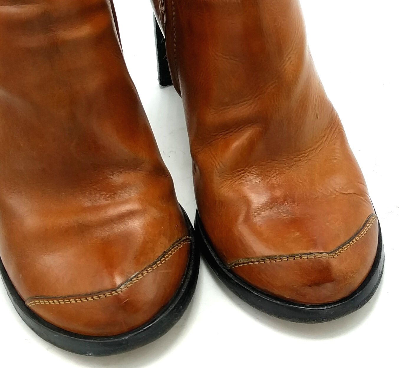 COSTUME NATIONAL braun Leather Heel Heel Heel Mid Calf Stiefel 5.5M  35.5 Zip damen f5677e