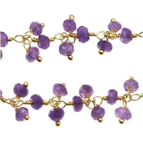 Amethyst Drops Wire Wrapped Gemstone Chain by the Inch Gold Vermeil