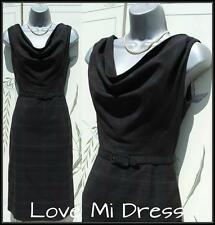 50's Style Checked Secretary Pencil Wiggle Dress 14 EU42 Galaxy