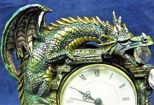 Dragon-Wizard-Skull-Clock-Statue-Evil-Demon-Crystal-Spirit-Warrior-Satan-Devil