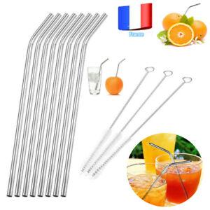 Metal-Acier-inoxydable-boissons-Paille-Reutilisable-Pailles-Brosse-de-nettoyage
