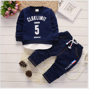 Toddler-Boy-2-PCs-Outfit-Tracksuits-Set-Sport-Casual-Size-0-3-Years-top-Jeans