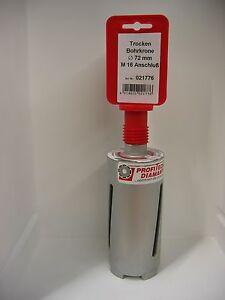 Diamant-Trockenbohrkrone-Drm-72-mm-Nutzlaenge-150-mm-Aufnahme-M-16-Diamantkrone