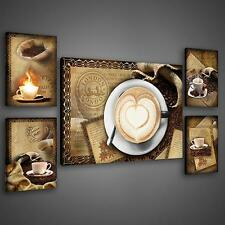 SET (5 teilig) POSTER FOTO BILD LEINWAND BILD KAFFEE KAFFEEBOHNEN  3FX2041S14