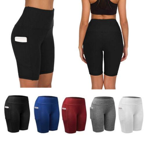 Women High Waist Sport Shorts Leggings With Pocket Running Exercise Tight Pants