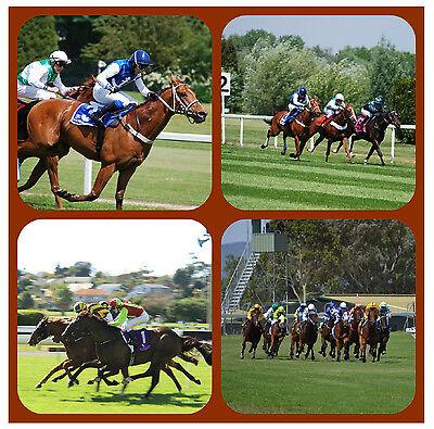 HORSE RACING XMAS // NEW - SET OF FUNNY NOVELTY COASTERS PERSONALISED