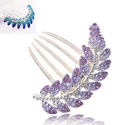 Latest Women Peacock Leaf Crystal Rhinestone Hair Clip Bridal Hairpin Comb