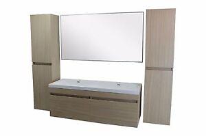Doppelwaschtisch 140cm Waschbecken Bad Unterschrank Spiegel