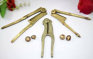 Rare-Indian-Solid-Brass-Nut-Crackers-Collectible-3-different-Shapes-i12-180