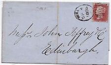 * 1856 HULL SPOON TYPE B SEP 4 1d STAR WRAPPER TO JOHN JEFFREY IN EDINBURGH