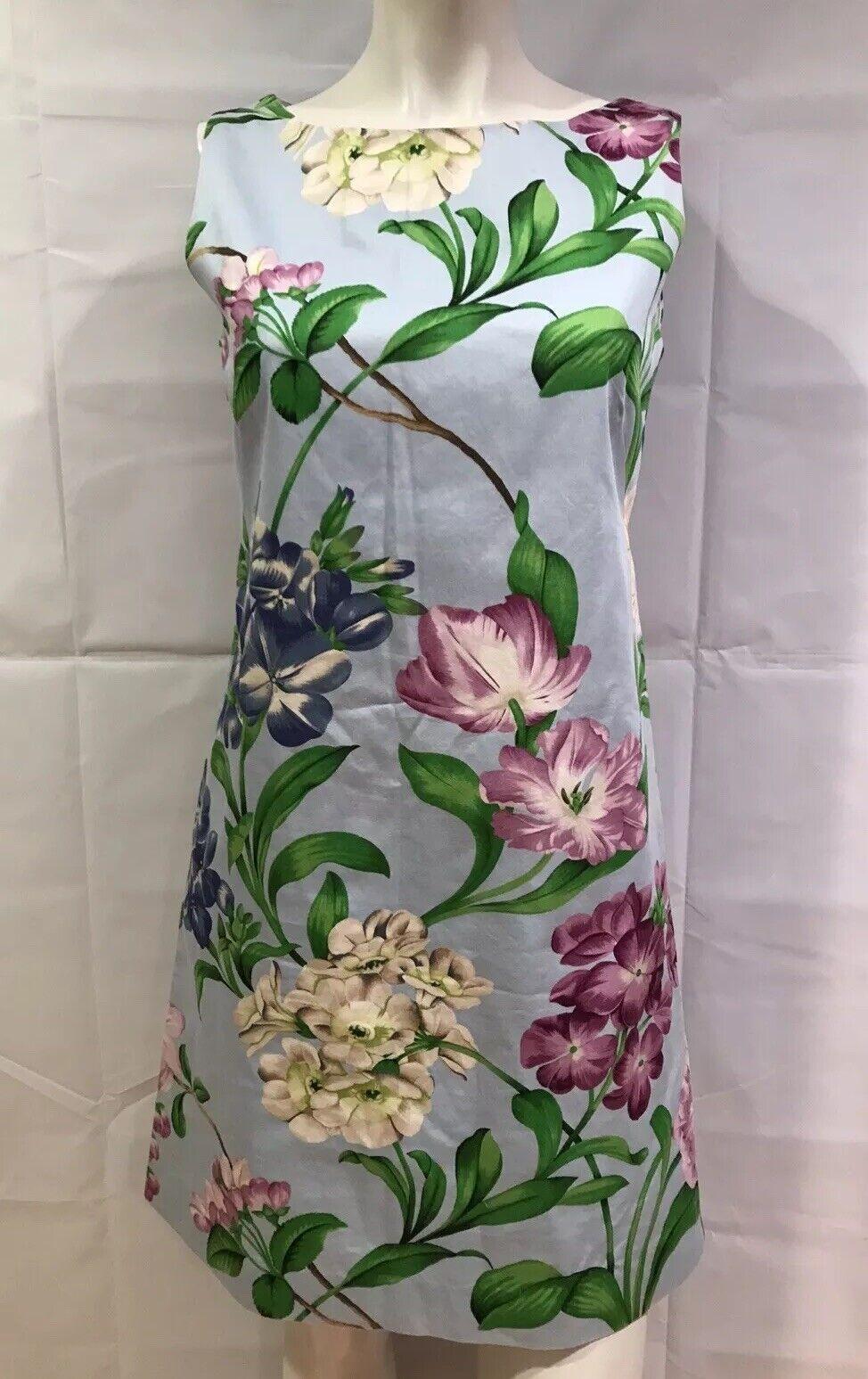 Steven Stolman 8 Dress Sheath Blau Flowers Print Sleeveless Cotton Lining Größe 8