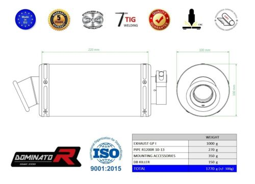 Exhaust silencer muffler DOMINATOR GP I BMW R1200R 10-14 DB KILLER