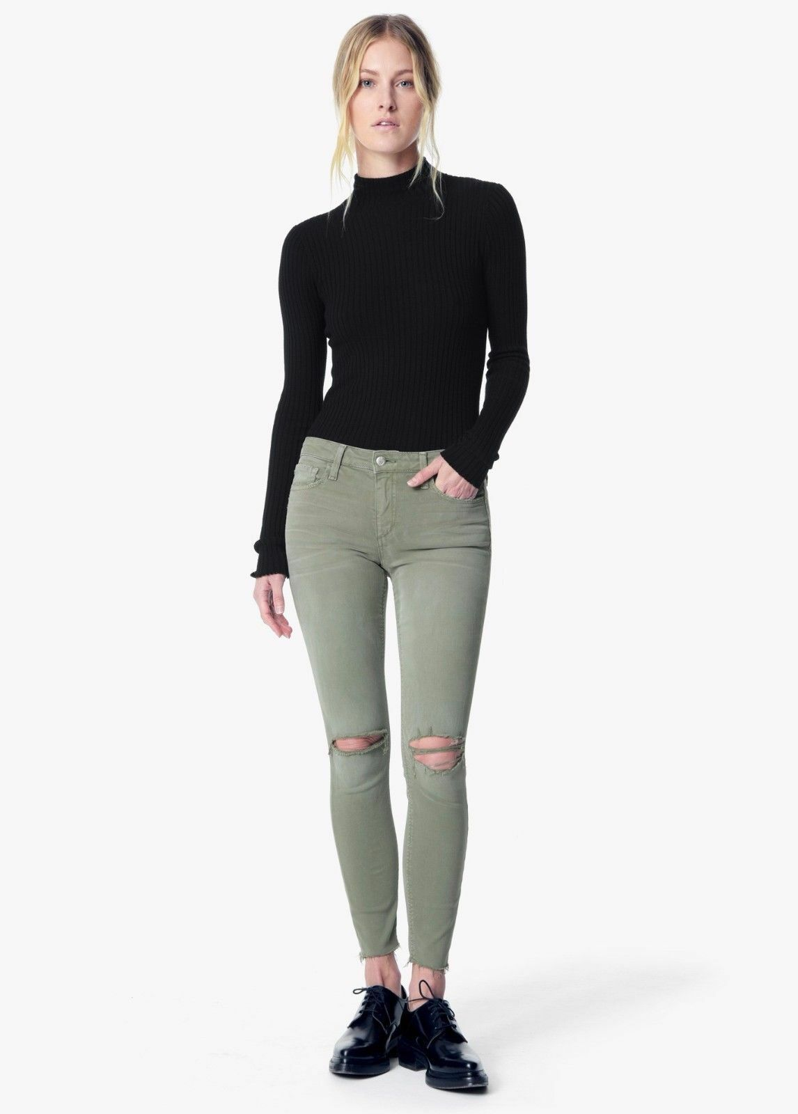 NWT Joe's Jeans 28 The Icon Mid Rise Skinny Ankle Flawless Olive Green