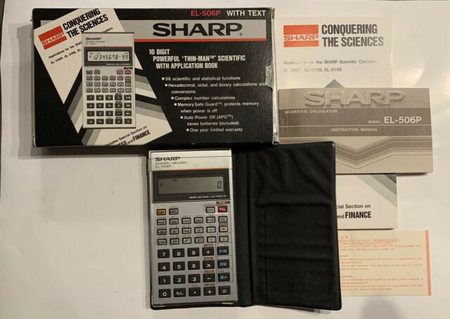Sharp EL-506P Scientific Calculator with Cover Instructions Book and Box