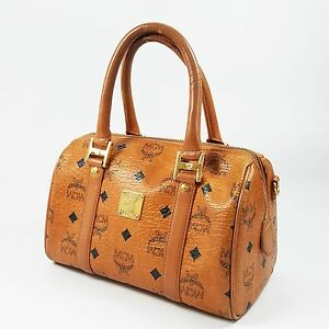 Auth-MCM-Visetos-Mini-Boston-Bag-Cognac-Guaranteed-Evening-Tote-Hand-Bag-MA060