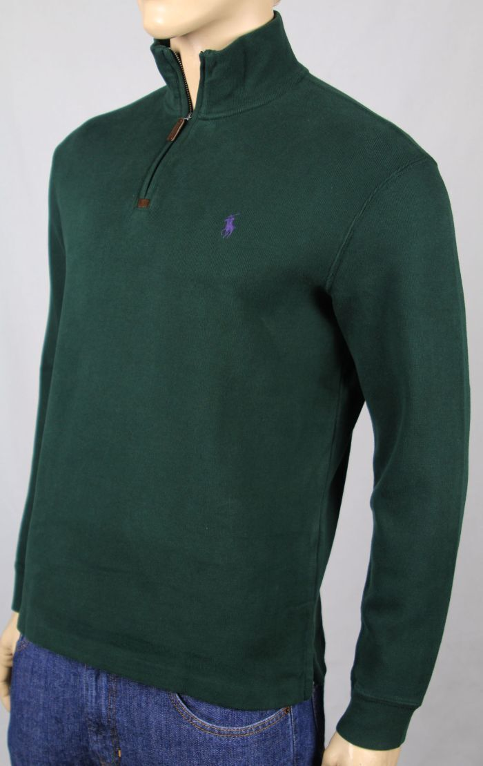 Polo Ralph Lauren Green 1 2 Half Zip Sweater Purple Pony NWT