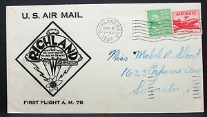 US-Airmail-Cover-First-Flight-Richland-Washington-Stamp-USA-Lupo-Letter-H-7599