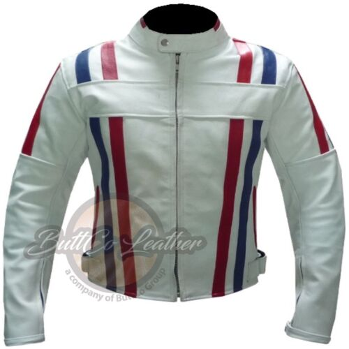 NEW CUSTOM 7288 Motorbike Motorcycle Biker Racing Real WHITE Leather Jacket Coat