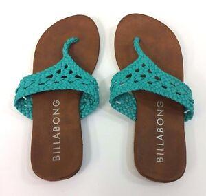 aaa93de0b21 Billabong Flip Flops Sandals T-strap Thong Crochet Teal Women s Size ...