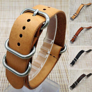 Mens-Genuine-Leather-Army-Military-Wrist-Watch-Bands-Strap-18mm-20mm-22mm-24mm
