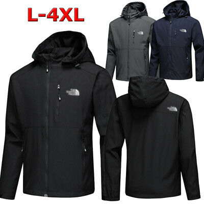 Men/'s Outdoor Jacket Sports Waterproof Soft Shell Hooded Hiking Windproof Coat