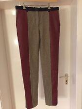 Runway Celine Kult Lammnappa Leder Wolle Hose beige burgund rot, 38 40