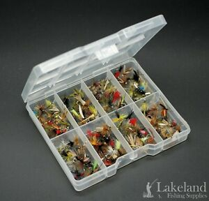 Ponctuel Tackle Fly Box + Mixte Trout Fishing Flies Sec Humide Nymphes Buzzers-starter Kit-afficher Le Titre D'origine