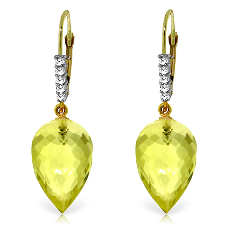 18.15 Carat 14K Solid gold Drop Briolette Lemon Quartz Diamond Earrings