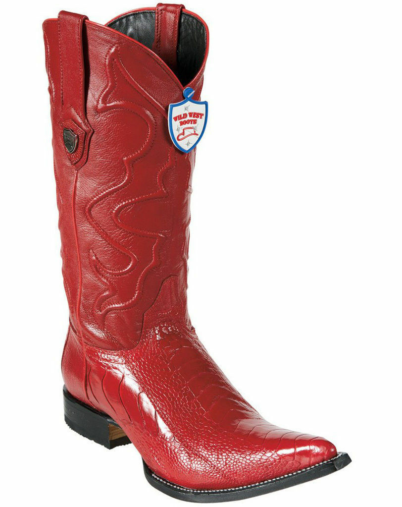 WILD WEST RED 3X-TOE GENUINE OSTRICH LEG WESTERN COWBOY BOOT (EE+)