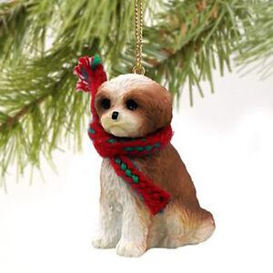 SHIH TZU (TAN WHITE SPORT CUT) DOG CHRISTMAS ORNAMENT HOLIDAY ...