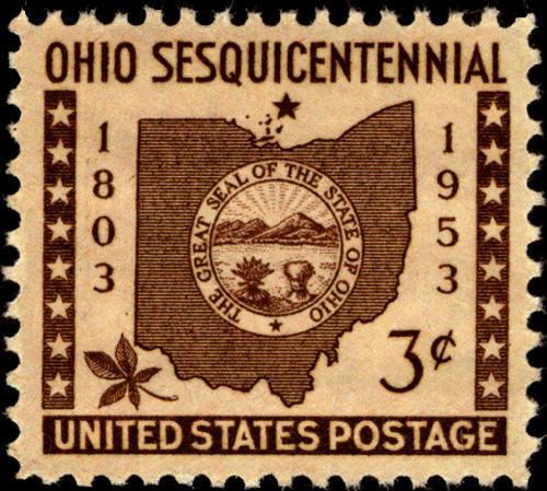 1953 3c Ohio Statehood Map, State Seal & Buckeye Leaf S