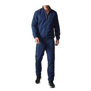 Adidas-Men-039-s-Poly-Woven-Basic-Tracksuit-Jacket-Pants-Full-Set-AY3009-Navy