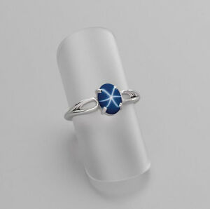 Cornflower-Blue-Star-Sapphire-Ring-925-Sterling-Silver-8x6-mm-Oval