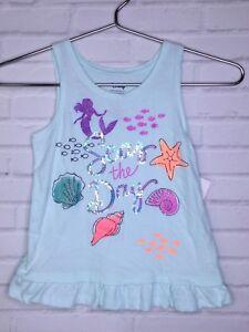 Disney-Jumping-Beans-Sparkle-Little-Mermaid-Ruffle-Hem-Knit-Tank-Top-Shirt-Sz-5