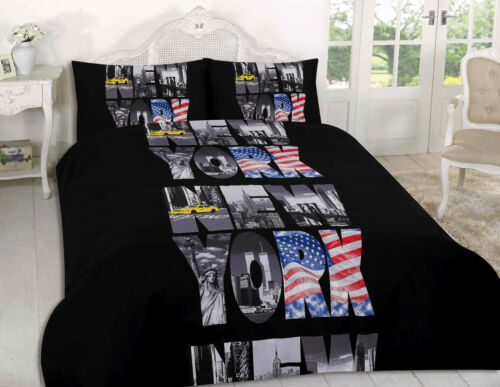 London Paris NYC Duvet Quilt Cover Pillowcase set Single Double King Super