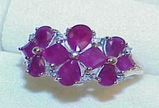 14K 4.00ct 13 Ruby Pear Diamond Cluster Square Ring Size 8 Vintage High End Gift