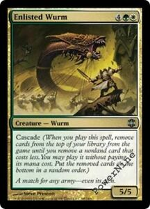 4 FOIL Enlisted Wurm Gold Alara Reborn Mtg Magic Uncommon 4x x4
