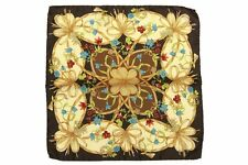 Battisti Pocket Square Dark brown with beige floral pattern, pure silk