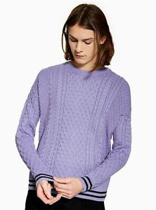 Ex-TOPMAN-Lilac-Tipped-Cable-Jumper-S-Small-Chest-36-38-wb107