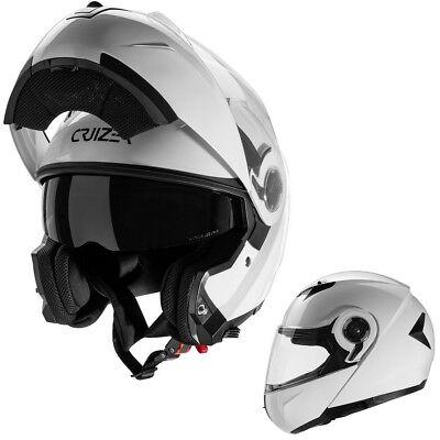 Casco Modulare Moto Doppia Visiera Omologato ECE-22-05 Bianco Lucido