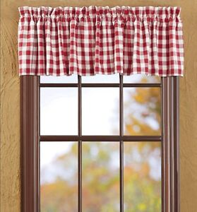 Buffalo Red Check Valance White Plaid Country Cottage