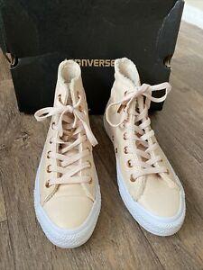 Converse-Chuck-Taylor-Leather-Hi-Top-Pastel-Rose-Tan-Uk-5-5-Fleece-Lined