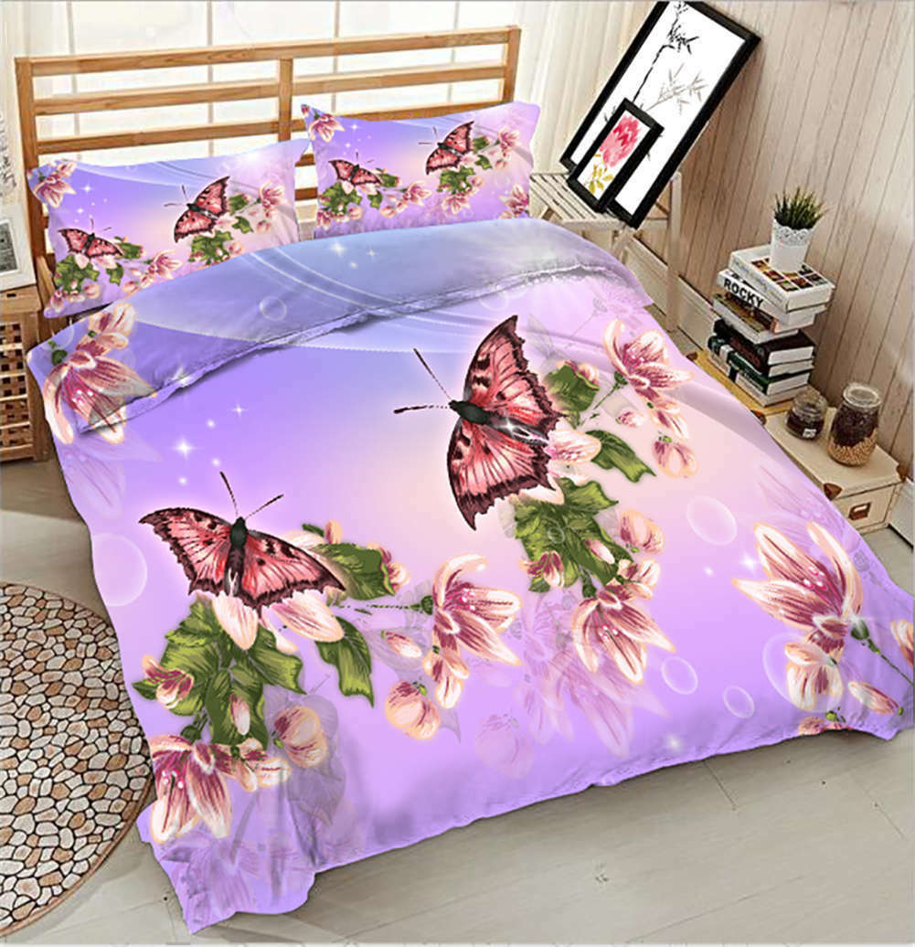 Butterfly In Pairs 3D Printing Duvet Quilt Doona Covers Pillow Case Bedding Sets