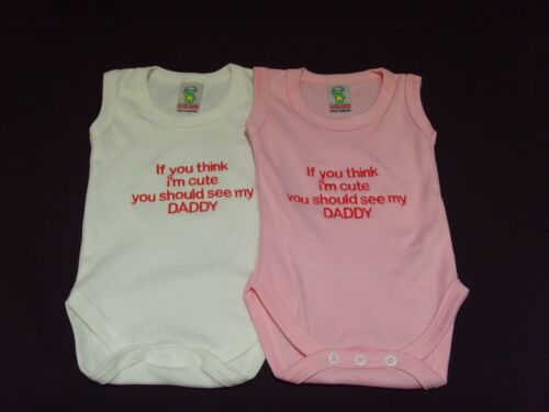 Funny Embroidered Personalised Vest Baby Shower Gift If you think im cute daddy