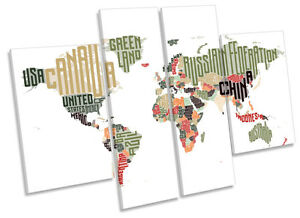 World Map Typography Canvas Wall Art Multi Panel Print Picture Ebay